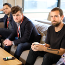 Singer Bressie and Harry McCann join Jack Dorsey, founder and CEO of Twitter, in Dublin this morning. Pic: Adrian Weckler