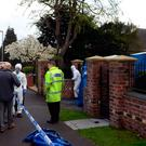 Police activity near the scene where a 13-year-old boy and his mother have died after being stabbed at their home in Greyhound Lane, Stourbridge. Photo: Joe Giddens/PA Wire