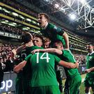 16 November 2015; Jonathan Walters, Republic of Ireland, is congratulated by team-mates after scoring his side's second goal of the game. UEFA EURO 2016 Championship Qualifier, Play-off, 2nd Leg, Republic of Ireland v Bosnia and Herzegovina. Aviva Stadium, Lansdowne Road, Dublin. Picture credit: Ramsey Cardy / SPORTSFILE (Photo by Sportsfile/Corbis via Getty Images)