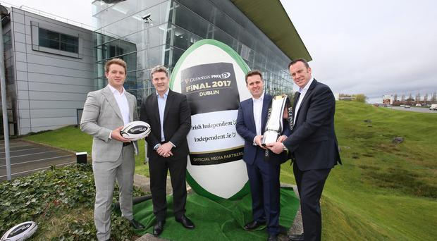Pictured at the announcement are (L-R), Luke Fitzgerald, Former Ireland rugby international and host of The Left Wing; Martin Anayi, CEO, PRO12; Geoff Lyons, Commercial Director, Independent News & Media and Dermot Rigley, Commercial and Marketing Director, PRO12 Rugby