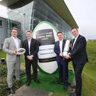 Pictured at the announcement are (L-R), Luke Fitzgerald, Former Ireland rugby international and host of The Left Wing; Martin Anayi, Managing Director, Pro12; Geoff Lyons, Commercial Director, Independent News & Media and Dermot Rigley, Commercial and Marketing Director, PRO12 Rugby
