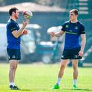 Leinster centres Robbie Henshaw, left, and Garry Ringrose during a Leinster rugby squad training session at Rosemount, UCD in Dublin. Photo: Brendan Moran/Sportsfile