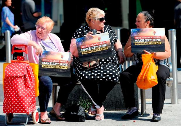 Vote leave supporters wait for Nigel Farage to arrive in Clacton-on-Sea in Essex during the Brexit campaign. Photo: Nick Ansell/PA Wire