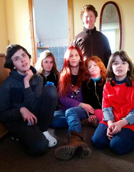 Awareness: Fiona (centre) with her children, clockwise from back, Dillon (24), Romy (9), Phoebe (7) Sienna (9) and Vito (12)