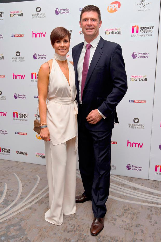 Niall Quinn, pictured with wife Gillian, is a shareholder in the company that owns Lawlor's Hotel in Naas, the development of which is opposed by Christian Brothers in the adjoining monastery