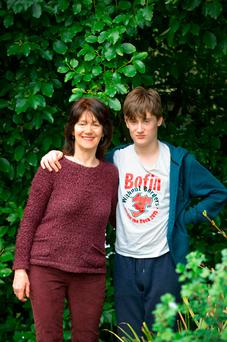 Victoria White with her son Tom at their Clonskeagh home