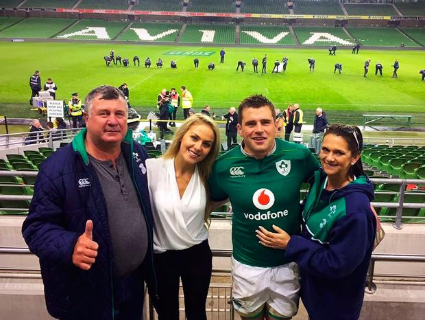 CJ Stander with his parents - Amanda and Jannie - and his wife Jean-Marie at the Aviva Stadium after the Six Nations victory over England