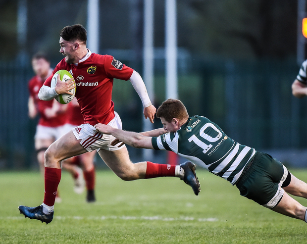 Munster A's Bill Johnston is tackled by Rory Clegg of Ealing Trailfinders during the British & Irish Cup semi-final. Photo: Matt Browne/Sportsfile