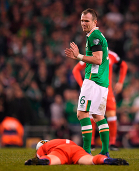 Glenn Whelan of Republic of Ireland in action against Joe Allen of Wales during the FIFA World Cup Qualifier Photo: Brendan Moran/Sportsfile
