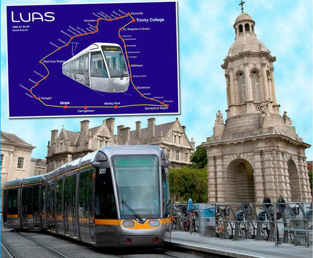 Artist's impression of the new Luas 'Belltower' stop in Trinity College and the new Luas map