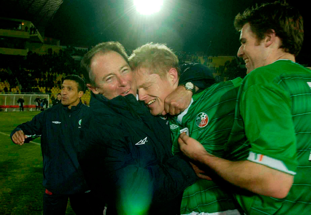 Kerr and Duff embrace once more after Ireland's win over Georgia in the 2004 European Championship qualifier. Photo: Sportsfile