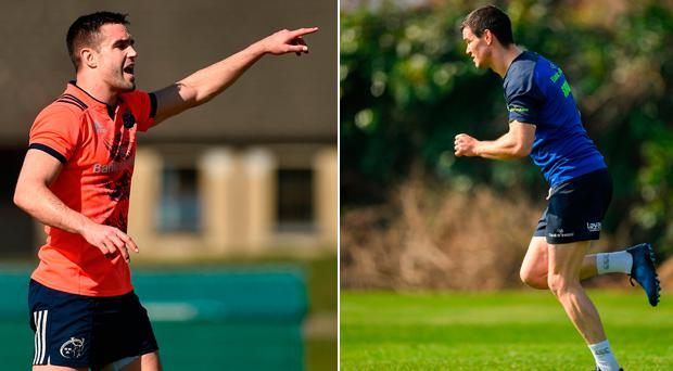 Munster's Conor Murray and (right) Johnny Sexton of Leinster