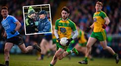 Ryan McHugh in action and (inset) Jim Gavin and Rory Gallagher
