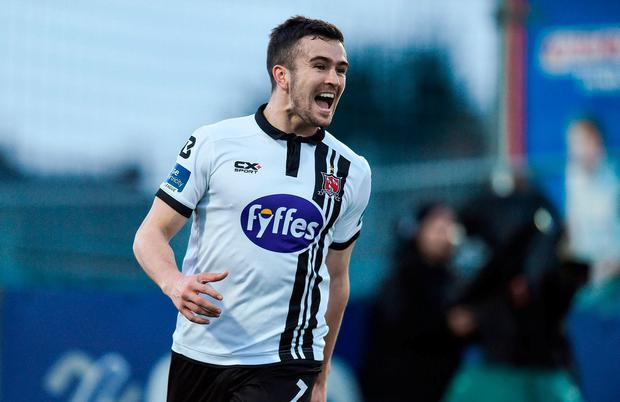 Michael Duffy of Dundalk celebrates after scoring his side's second goal during the SSE Airtricity League Premier Division match between Dundalk and Drogheda United at Oriel Park in Dundalk, Co. Louth. Photo by David Maher/Sportsfile
