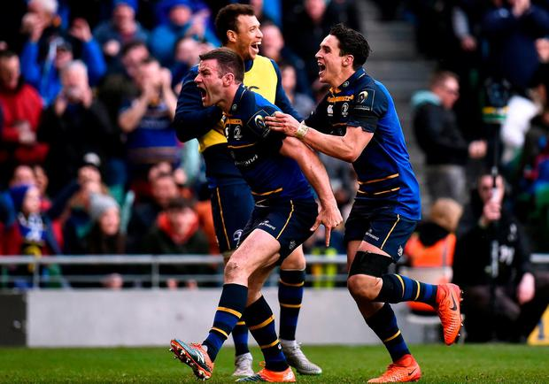 Fergus McFadden of Leinster, left, celebrates with team-mate Joey Carbery after scoring his side's fourth try during the European Rugby Champions Cup Quarter-Final match between Leinster and Wasps at the Aviva Stadium in Dublin. Photo by Seb Daly/Sportsfile