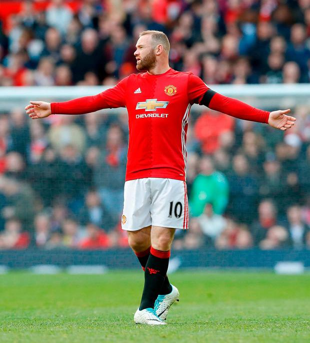 Manchester United's Wayne Rooney during the Premier League match at Old Trafford today