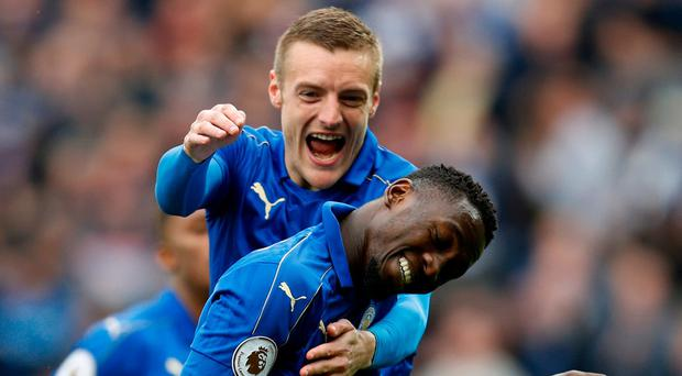 Leicester City's Wilfred Ndidi celebrates with Jamie Vardy after scoring their first goal Reuters / Darren Staples