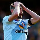 Sunderland's Fabio Borini rues a missed chance during the Premier League match at Vicarage Road