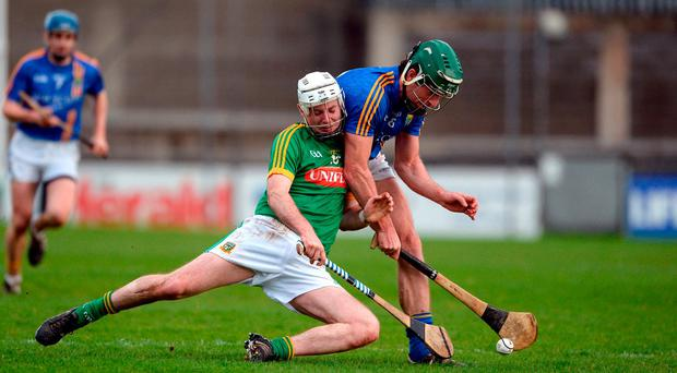 Kevin Keena of Meath in action against Eamonn Kearns of Wicklow during the Allianz Hurling League Division 2B Final match between Meath and Wicklow at Parnell Park, in Dublin. Photo by Daire Brennan/Sportsfile