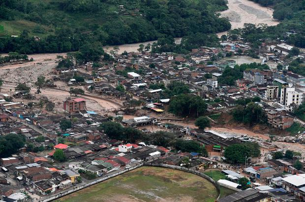 An aerial view of a portion of Mocoa, Colombia (Cesar Carrion/Colombian Presidential Press Office via AP)