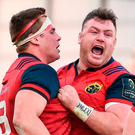 CJ Stander celebrates with Dave Kilcoyne after scoring a try. Photo: Sportsfile