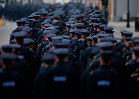 'Right now, the rookie gardai and the rank and file have the spotlight to themselves, because it is their job to input checkpoint returns on the Pulse system' Photo: Niall Carson/PA Wire...A