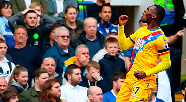Christian Benteke celebrates scoring Crystal Palace's winner against Chelsea after just eleven minutes at Stamford Bridge yesterday. Photo: John Walton