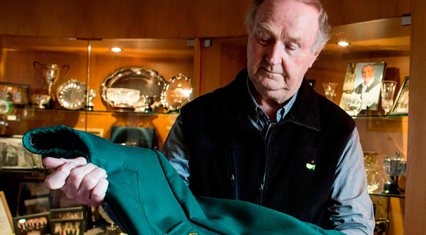 Dermot Gilleece with Joe Carr's Green green jacket in Sutton golf club. Photo: David Conachy.