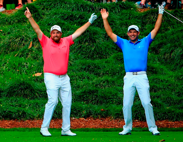 Padraig Harrington and Shane Lowry of Ireland react to a shot during the Par 3 Contest prior to the start of the 2015 Masters Tournament at Augusta. Photo: Jamie Squire/Getty Images