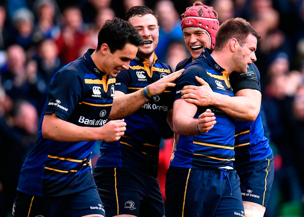 Leinster's Fergus McFadden celebrates with team-mates Joey Carbery, Robbie Henshaw and Josh van der Flier. Photo: Sportsfile