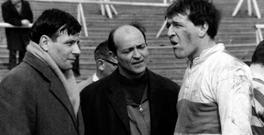 WINNING TEAM: David Storey (left), producer Karel Reisz and actor Richard Harris on the set of 'This Sporting Life'