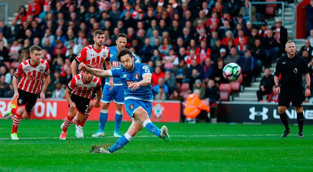 Harry Arter misses a penalty during the Premier League match between Southampton and AFC Bournemouth at St Mary's