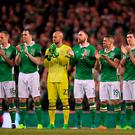 The Ireland team ahead of Wales match