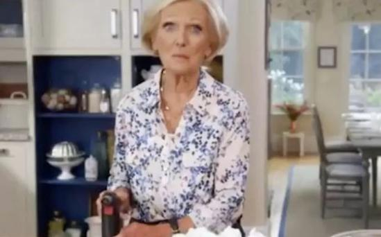 Mary Berry gets a blow-torch CREDIT: BBC