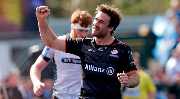 Marcelo Bosch of Saracens celebrates after scoring their second try.