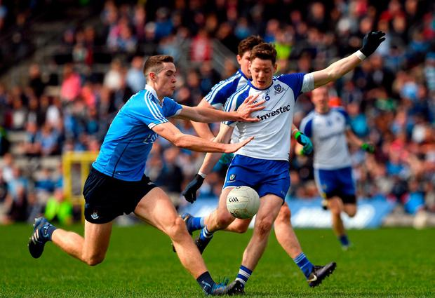 Brian Fenton of Dublin blocks a shot on goal by Conor McManus of Monaghan, resulting in a free to Monagahan, during the Allianz Football League Division 1 Round 7 match between Monaghan and Dublin at St. Tiernach's Park in Clones, Co Monaghan. Photo by Ray McManus/Sportsfile