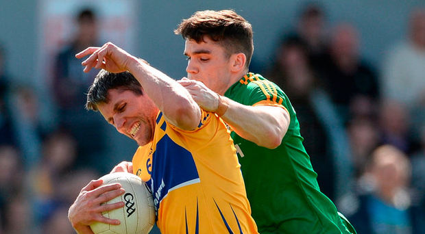 Gordon Kelly of Clare in action against Meath's Donal Lenihan Photo: Diarmuid Greene/Sportsfile