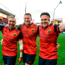 Simon Zebo, Donnacha Ryan, and Billy Holland celebrate after Munster's victory Photo: Diarmuid Greene/Sportsfile