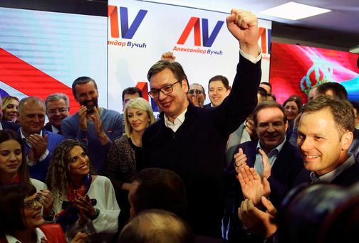 Serbian Prime Minister and presidential candidate Aleksandar Vucic celebrate his win at presidential election in his headquarters in Belgrade, Serbia, April 2, 2017. REUTERS/Antonio Bronic