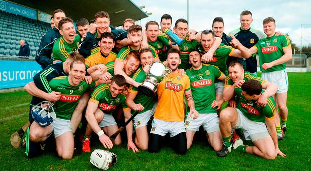The Meath hurlers celebrate with the Cup after their victory in the Division 2B Final. Photo: Daire Brennan/Sportsfile