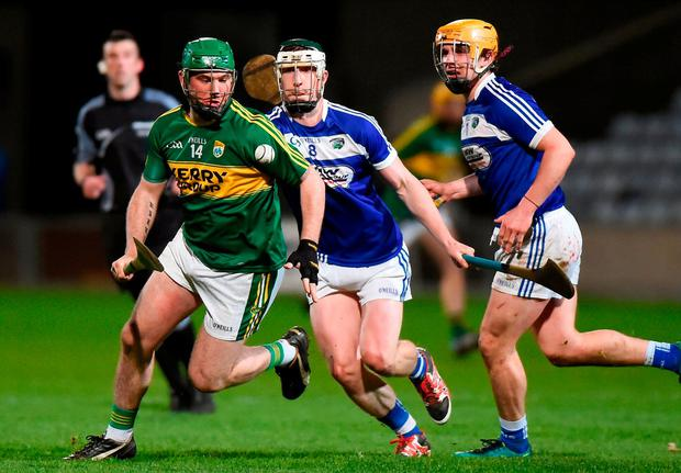 Kerry's Mikey Boyle in action against Laois' Ross King. Photo: Matt Browne/Sportsfile