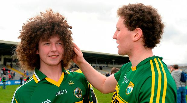 Kerry's Tadhg Morley admires the hair of Kerry supporter Paudie Horgan from Listowel after the team's victory over Tyrone in Killarney. Photo: Cody Glenn/Sportsfile