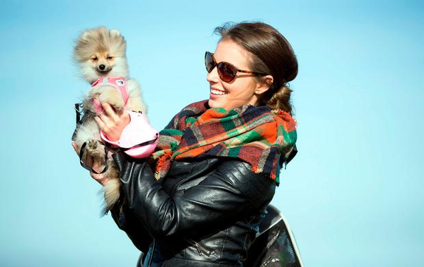Serena O'Grady with her dog Winnie out for a walk in Skerries, Co Dublin. Photo: Mark Condren