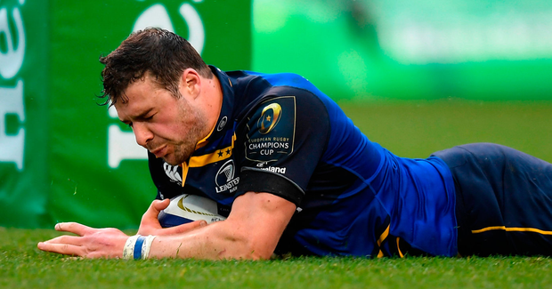 Leinster's Robbie Henshaw goes scores his side's third try Photo: Stephen McCarthy/Sportsfile