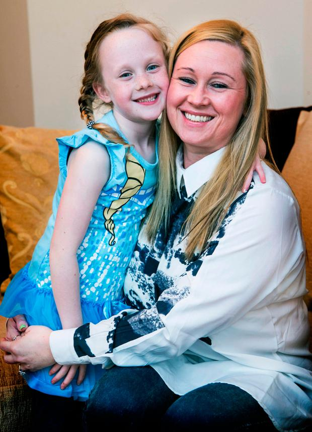 Heidi Keogh (6) pictured with her Mother Sharon Kavanagh at their home in Balgriffin .