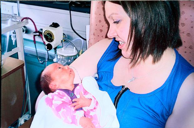 Tammie Weldon pictured with her daughter Teagan who was born premature.