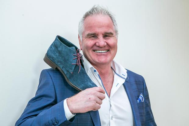 Brent Pope with some of his range of Shoes ,pictured at the Morrison Hotel.