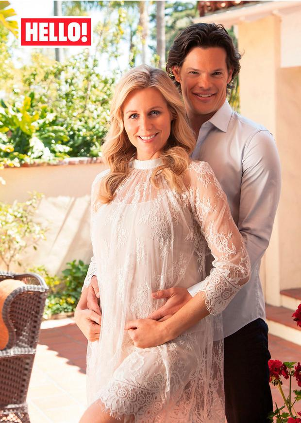 Abi Titmuss with fiancé Ari Welkom appearing in this week's edition of Hello! Magazine. Picture: PA Wire/Hello! Magazine