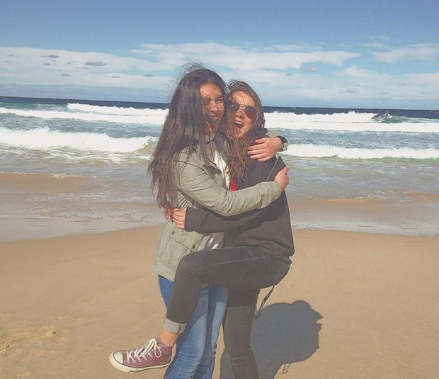Aimee pictured with her friend Genevieve at Bondi Beach in Australia