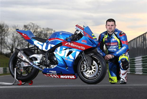 Michael Dunlop at Mallory Park with the Bennetts Suzuki GSXR superbike he will race throughout the 2017 season
